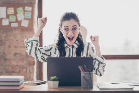 Close-up portrait of nice attractive cheerful cheery glad girl looking at screen display celebrating having fun at modern brick loft industrial interior style work place station