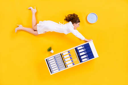 Top above high angle view full size profile side photo shocked woman doc air fly flat lay touch shelf impressed pandemic corona virus wear high heels isolated bright shine color background