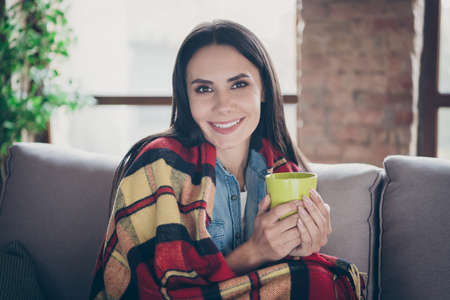 Close-up portrait of nice attractive lovely cute cheerful brunette girl sitting on divan covered cosy plaid drinking hot green tea spending time in safety modern loft brick industrial house apartment 스톡 콘텐츠