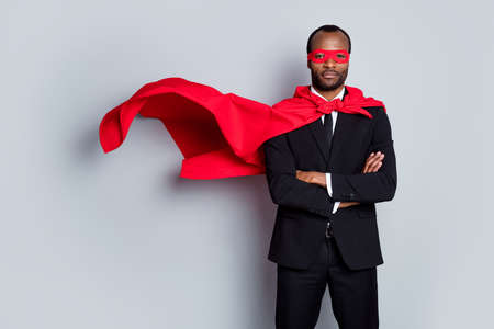 Brave courage afro american man day he agent collar night strong superman cross hands ready save world wear red costume blazer pants tuxedo tie isolated gray color background