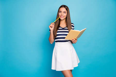 Photo of beautiful cheerful lady hold diary copybook pen noting creative thoughts look empty space curious pencil on chin wear striped t-shirt white skirt isolated blue color background
