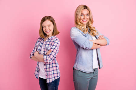 Turned photo positive two people worker mother daughter cross hands feel optimistic can decide decision solution wear casual denim jeans checkered plaid shirt isolated pastel color background