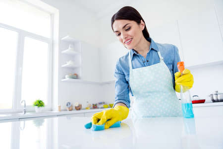 Portrait of positive woman professional worker wear latex gloves, disinfect table surface hold bottle sprayer wash rag in kitchen house indoors Zdjęcie Seryjne