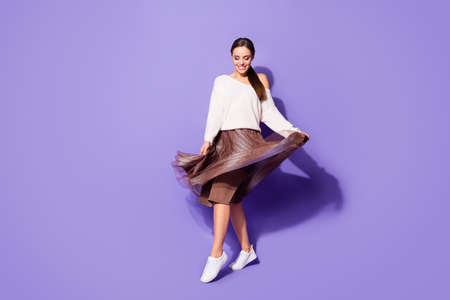 Full length body size view of her she nice attractive charming fashionable cheerful girl dancing having fun enjoying party isolated on bright vivid shine vibrant lilac violet purple color background 版權商用圖片