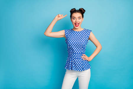 I like it. Photo of beautiful pretty funky lady indicating finger head cute hairstyle two buns wear dotted blouse shirt white pants isolated blue color background