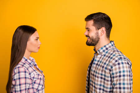 Profile side photo of frustrated girl look man on her first blind date dont like him wear casual style clothes isolated over vibrant color background