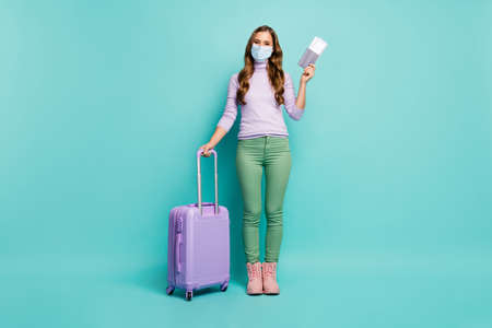 Full length body size view of her she attractive lady departure comfort business class voyage world opening borders isolated bright vivid shine vibrant teal turquoise green color background