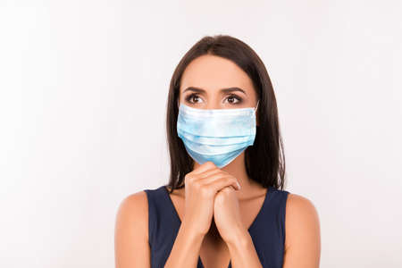 Close-up portrait of her she nice attractive lovely brown-haired girl wearing medicine mask asking stop contamination anti sickness illness disease spread isolated over grey pastel color background Reklamní fotografie