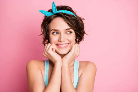 Close-up portrait of her she nice-looking attractive pretty cute curious glad cheerful cheery girl thinking news idea plan isolated on pink pastel color background Standard-Bild