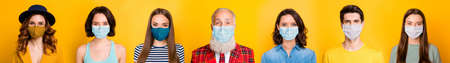 Stay at home covid-2019 fashion trend concept. Photo portrait montage composite multiple image of happy conscious group of people having sterile masks isolated on bright yellow background