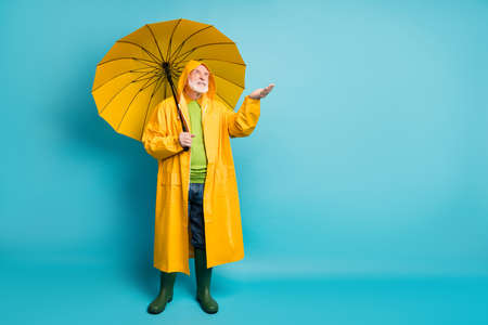 Full length body size view of his he nice dissatisfied irritated annoyed grey-haired man wearing topcoat checking holding drop on palm isolated over bright vivid shine vibrant blue color background Stock Photo
