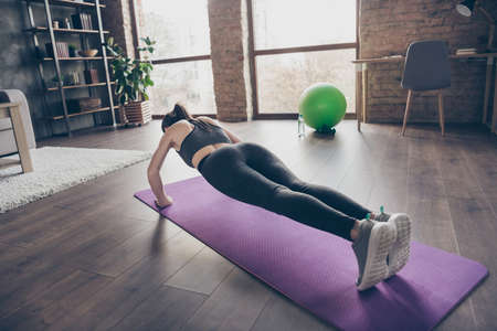 Full size back rear spine view photo of active motivated beautiful sportive girl doing practice yoga aerobics push-up on floor mat wear panties gumshoes in house indoors