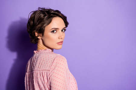 Close-up profile side view portrait of her she nice-looking attractive lovely lovable smart content luxury girl isolated over bright vivid shine vibrant lilac violet purple color background Banque d'images