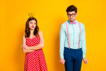 I dont want dance him. Two people selfish ego girl royal prom party queen cross hands look shy geek stylish guy wear crown red dotted dress suspenders shirt isolated bright color background