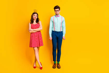 Full length photo two people prom party queen girl geek guy shy want dance arrogant lady cross hands wear red dress short mini high heels suspenders shirt isolated bright shine color background