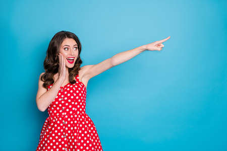 Photo of attractive shocked lady direct finger far away traveler showing way excited novelty banner wear summer red white dotted retro dress isolated blue color background