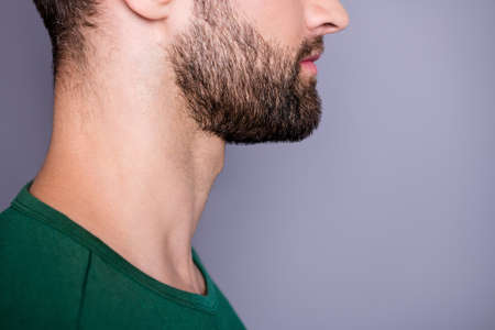 Profile side cropped close up photo of minded pensive guy look copyspace advertise skin care bristle stubble procedure wear casual style outfit isolated over gray color background