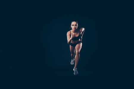 Full length photo short sport suit lady ready steady go concept sprint run professional inspired to win race isolated black background
