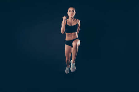 Full size photo short sport suit lady ready steady go concept sprint run professional inspired to win race isolated black background