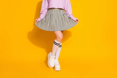 Cropped view of her she nice attractive fashionable slim fit feminine girl wearing checked skirt posing isolated on bright vivid shine, vibrant yellow color background