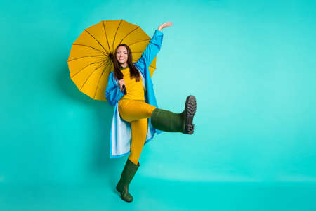 Full body profile photo of attractive lady good mood rain stopped Stock fotó