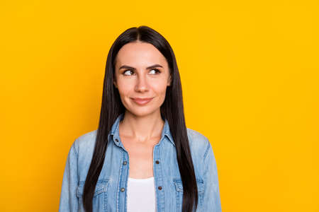 Close-up portrait of her she nice-looking attractive lovely pretty cute suspicious cheerful brunet girl creating idea isolated over bright vivid shine vibrant yellow color background