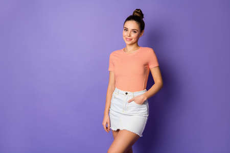 Portrait of attractive lovely nice person enjoy weekend summer free time put hands pocket wear casual style outfit isolated over violet color background