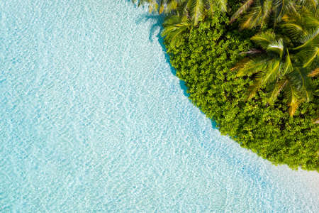 Top above high angle aerial drone view of pure clean clear sea water jungles plage dream hot sunny day daydream weather climate summertime season 2021 Bali Indonesia wild rainforest 版權商用圖片