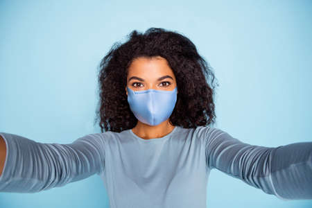 attractive girl wearing reusable cotton textile mask stop pandemia respiratory