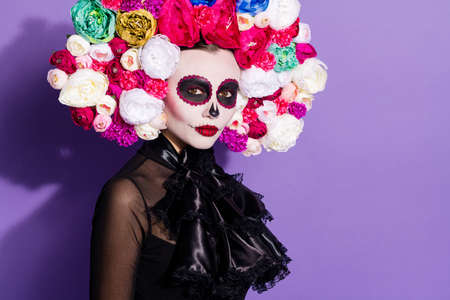 Photo of beauty dark dead katrina calaverita facial print skull folklore creature relatives saints honor holiday floral headwear black traditional lace costume isolated purple color background