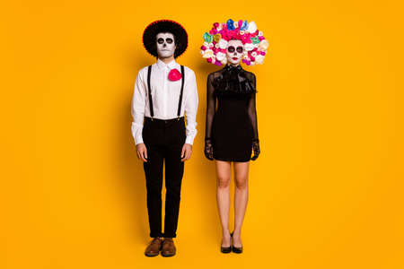 Full length body size view of his he her she nice glamorous fashionable trendy couple snap shop snapshot festive carnival look outfit isolated bright vivid shine vibrant yellow color background