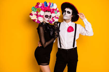 Portrait of his he her she glamorous elegant fashionable trendy couple wearing festal carnival clothes look outfit posing event isolated bright vivid shine vibrant yellow color background