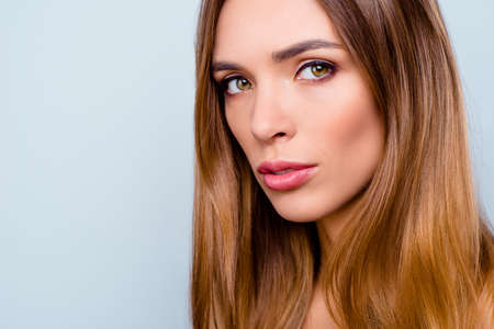 Cropped close-up portrait of nice lovely sweet winsome attractive straight-haired lady with perfect smooth silky flawless pure shine clean clear skin isolated over light gray background Stock fotó