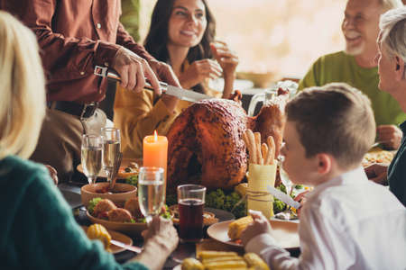 Photo of family meeting served table thanks giving dinner slicing stuffed grilled turkey living room indoors Banque d'images