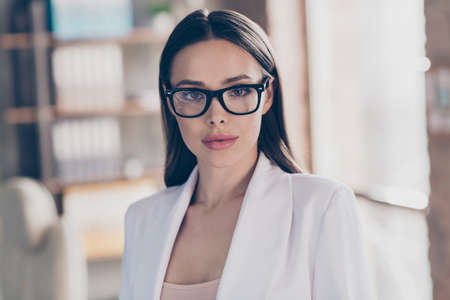 Closeup photo of attractive beautiful business lady eyesight health care concept look clever smart eyes camera home spacious office social distance formalwear blazer white suit indoors Stock fotó