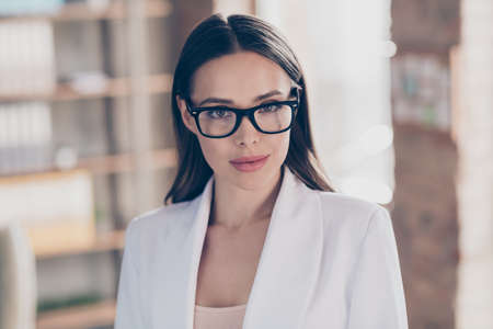 Closeup photo of attractive beautiful business lady eyesight health care concept look clever smart eyes camera good mood home spacious office social distance formalwear blazer indoors