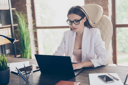Portrait of her she nice attractive busy focused elegant classy chic skilled lady consulting client insurance service at modern industrial loft brick interior workplace workstation indoors