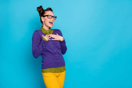 Profile photo of pretty crazy foolish lady two buns funny person laughing out loud listening humorous story wear specs shirt pullover pants isolated blue color background