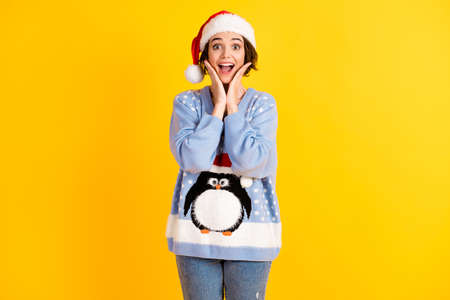 Photo of pretty overjoyed funny lady hands arms cheekbones open mouth see shopping low price banner newyear time wear santa cap ugly ornament sweater jeans isolated yellow color background