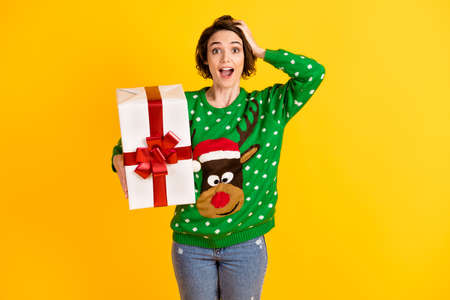 Shocked crazy girl have x-mas christmas night noel event theme party big present box touch head hand wear deer decor jumper pullover isolated bright shine color background Stock Photo