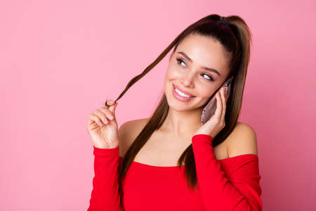 Close-up portrait of her she nice-looking attractive lovely pretty charming winsome cheerful cheery girl calling boyfriend discussing meeting date isolated over pink pastel color background
