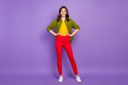 Full length body size view of her she nice attractive lovely charming content cheerful wavy-haired girlfriend posing isolated on bright vivid shine vibrant lilac violet purple color background