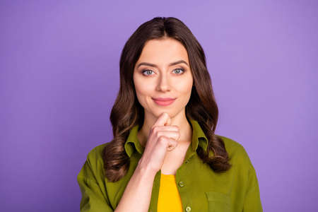 Portrait of clever intelligent nice girl touch hands face ready think plan future weekends wear casual style clothes isolated over vivid violet color background
