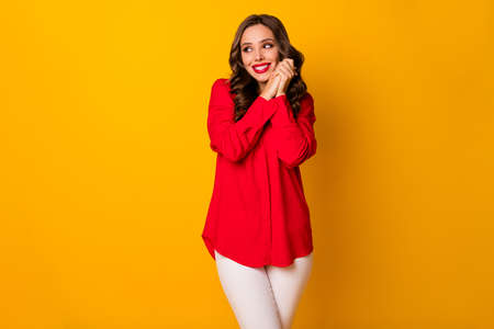Photo of attractive funny curly lady hold hands together look overjoyed side empty space formalwear red office shirt white pants isolated bright yellow color background Standard-Bild