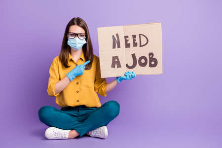 Photo portrait of girl wearing covid-19 protective facial mask gloves looking for job need money isolated on bright purple color background