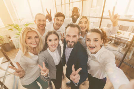 Company way-out crisis plan training coaching concept. Photo of business people freelancers partners investors make v-sign selfie wear formal outfit in boardroom workplace workstation