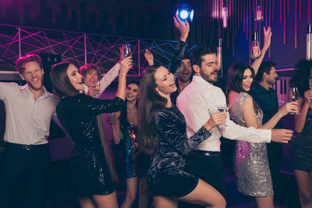 Photo portrait of wild students drinking dancing together at fancy party enjoying cocktails