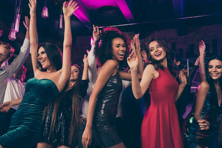 Photo portrait of carefree people together dancing at prom party having fun time wearing formal beautiful chic clothes