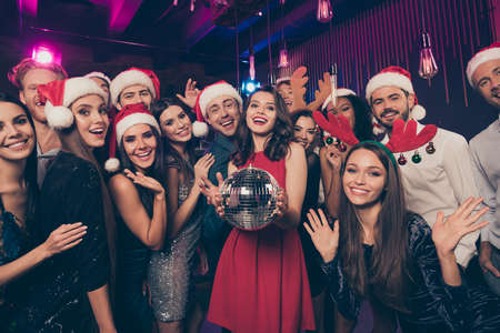 Photo portrait of people holding disco together ball waving hands greeting celebrating new year Stok Fotoğraf