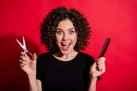 Portrait of attractive curly people open mouth arms hold scissors comb wear black t-shirt isolated on red color background